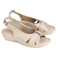 Harga sepatu sandal wanita sandal pesta wedges flat cream gs terbaru | Hargalu.com