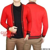 Cardigan Fleece Merah Basic Polos Panjang Pria CAR 614