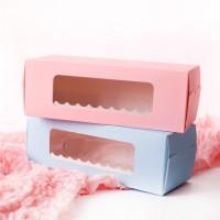 box roll cake pink biru kotak kue bolu gulung motif tebal baking