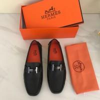 Sepatu Hermes Moccasins Flat H Buckle Hitam Mirror 2018