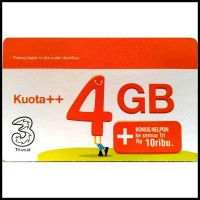 Three Voucher Kuota++ 4GB & Bonus Nelpon 10RB