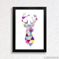 Hiasan Dinding Unik / Poster Geometris Kepala Rusa / Pajangan Rumah