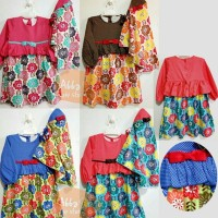 18-24m baju muslim gamis anak perempuan lucu cantik miangel floral dot