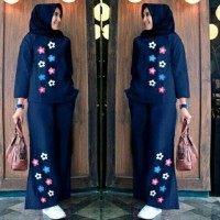 tanah abang Set Aisyah Hijab 2in1 Navy