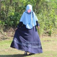 Gamis /Baju Muslimah Biru Dongker Wolfis Istimewa By Gansu Faa-iq