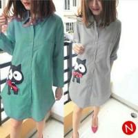 Branded Fashion Wanita 57252 catty long shirt /kemeja wanita