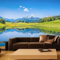 wallpaper Dinding Custom Pemandangan Alam 3D gunung pegunungan Danau 9