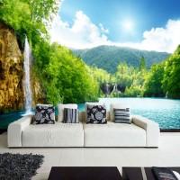 Wallpaper Dinding Custom Pemandangan Alam 3D air terjun gunung 16