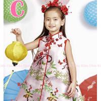 Dress Fashion Anak Satin Cheongsam Bunga Burung Kupu CLFK54CAXSZ