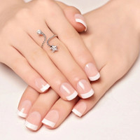 SFW kuku palsu polos French manicure pendek wedding fake nail