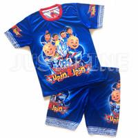 setelan anak upin&ipin U_blue-baju celana anak gambar kartun printing