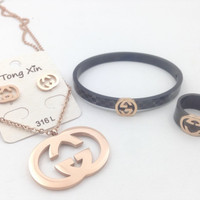 Gelang Gucci set Anting Cincin Kalung premium collections branded