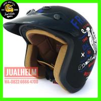 Helm Retro / Helm Classic / Helm Bogo /Helm Vespa/Helm Ava Hitam Motif