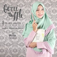 PRELOVED Khimar Berry Ruffle (Hijau - Ungu) by Hijab Alila