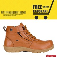 promo sepatu boots pria crocodile zipper safety warna tan bata