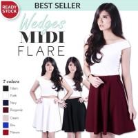 Rok Midi Wedges Flare Skirt Bandage Fever Wanita