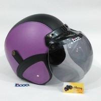 Bagus nyaman Helm Bogo Retro Kulit Sintetis Sni Ungu Hitam Classy Kaca