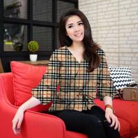 CGL-KV#308245 Kimono Rica burberry blouse ATASAN BLOUSE CEWEK KEMEJA P