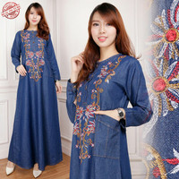 Jual Maxi Dress Laudi Gamis Jeans bordir Murah