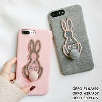 soft case casing suede rabbit pompom hp oppo f1s/a59, a39/a57, f3 plus