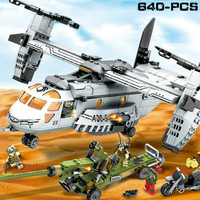 LEGO 640pcs Helicopter artillery Swat Army Soldier Block Gold Bricks