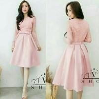 Dress (M - Fit L) LIVION PINK - Brokat Furing Satin Silky