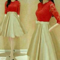 Dress (M - Fit L) LIVISA RED - Brokat Furing Satin Silky