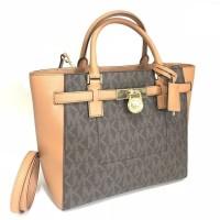 Tas wanita Hand Bag Michael Kors MK Hamilton Traveler Large Tote Brown
