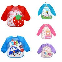 Baju Makan/Baju Lukis/ Baju Plastik / Bib Slabber Lengan Bayi