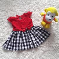 Baju Dress Pesta Kondangan Anak Bayi Perempuan Brokat Rok Kotak