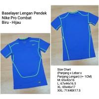 Baselayer Lengan Pendek Shortsleeve Nike Pro Combat Hitam - Biru, L