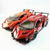 Lamborghini Veneno Hitam cat Doff Diecast miniatur mobil kin