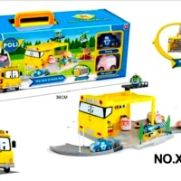 Parking Lot Robocar Poli School Bus XZ-318 - Kado Mainan Anak Cowok