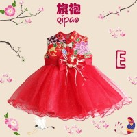 Dress Anak Bayi - Imlek - Cheongsam - Qi Pao - Gold Ribbon