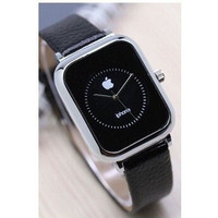 JAM TANGAN PRIA WANITA APPLE IPHONE LEATHER SILVER / HITAM / AP002