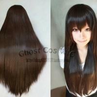 Wig Base long Black Brown 80cm GHOSTCOS cosplay wig panjang import