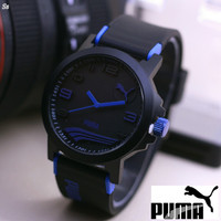 Jam Tangan Puma Sport Rubber Hitam List Biru