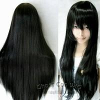 Wig Base long Black 80cm GHOSTCOS cosplay wig panjang import Taobao