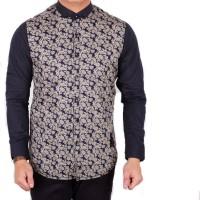Baju Kemeja Pria Polos Hitam Kombinasi Batik Tribal Lengan Panjang Cow