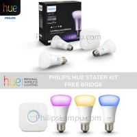 Lampu Led Wireless Warna - Philips Hue Set Free Bridge (3 Led 1Bridge)