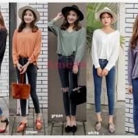 Sexy Back Blouse Baju Atasan Lengan Panjang Korea Import Hitam Putih 92ca219556
