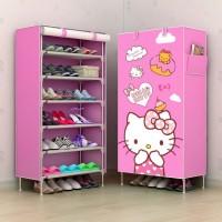 lemari rak sepatu gambar image hello kitty harga murah multifungsi