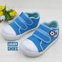 sepatu anak keren velcro baby sport biru toska perekat 1 2 3 tahun ZZT