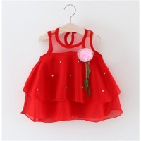 Gaun Musim Panas Anak Bayi Perempuan Longgar Motif Bunga Warna Merah