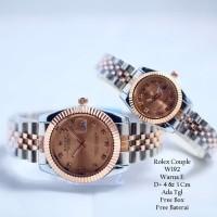 Jam Tangan Pasangan / Couple Murah Rolex Clasienta Silver Rose Color