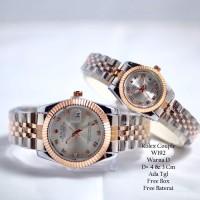 Jam Tangan Pasangan / Couple Murah Rolex Clasienta Silver Rose Silver