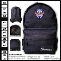 Tas Ransel Bodypack Punggung Klub Bola Arema Malang Full Denim Jeans