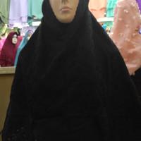 Jual Perlengkapan haji dan umroh wanita, jilbab instan /bergo paris hitam Murah