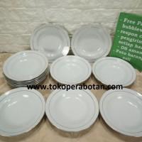 Piring Makan keramik Sango 9inchi (lis emas) (perlusin)