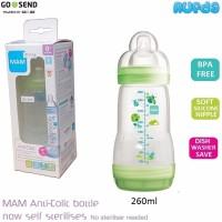 Jual Murah HIJAU Mam Anti Colic Bottle Botol Susu Bayi 260ml BPA Free Murah